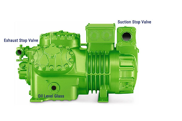 Oil Level Glass,Suction and Exhaust Stop Valve Location